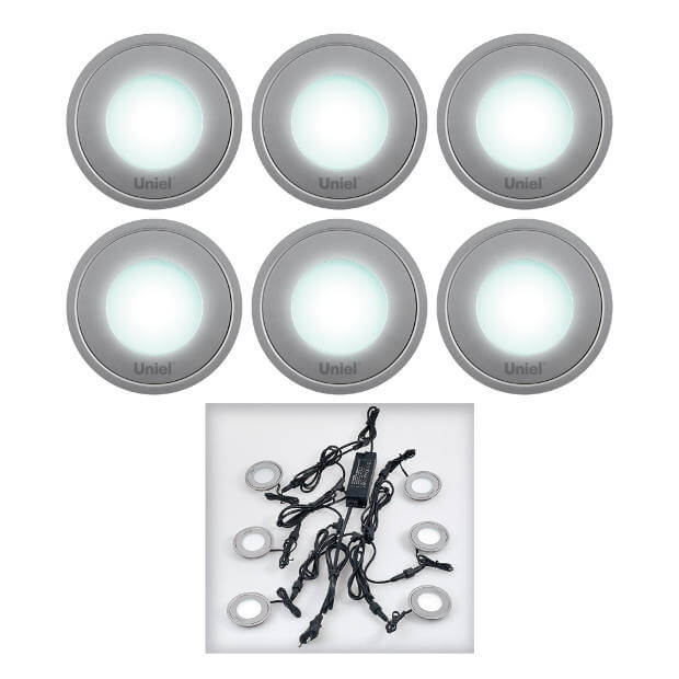 Комплект из 6 светильников ULM-R06-0,5Wx6/NW IP67 SILVER