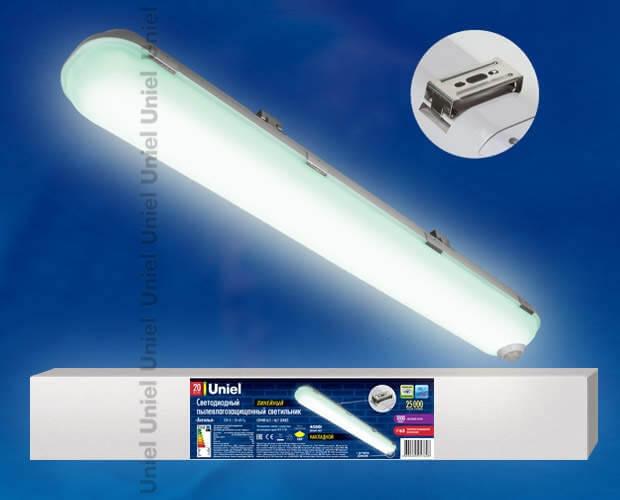 Светильник светодиодный линейный накладной пылевлагозащищенный «Ангилья» с датчиком движения ULT-V15-20W/NW SENSOR IP54 GREY