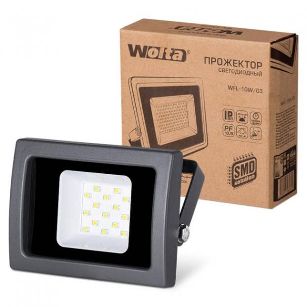 Светодиодный прожектор 850Lm WFL-10W/03, 5500K, 10 W SMD, IP 65, цвет серый, слим