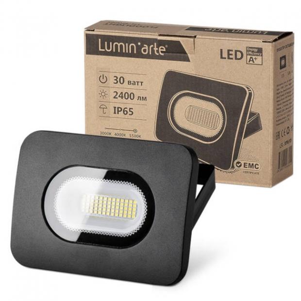 Светодиодный прожектор 2550Lm LFL-30W/05, 5500K, 30W SMD, IP 65, цвет серый, слим