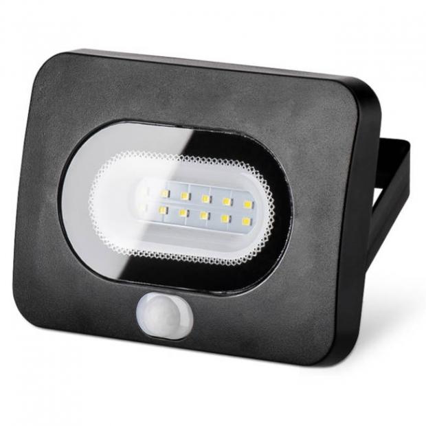 Светодиодный прожектор 850Lm LFL-10/05s, с датчиком движения, 5500K, 10W SMD, IP 65, цвет чёрный, слим