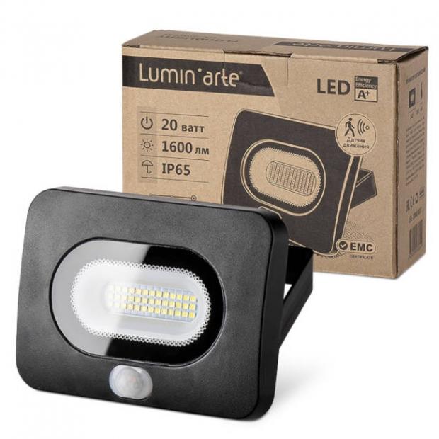 Светодиодный прожектор 1700Lm LFL-20/05s,с датчиком движения 5500K, 20W SMD, IP 65, цвет чёрный, слим
