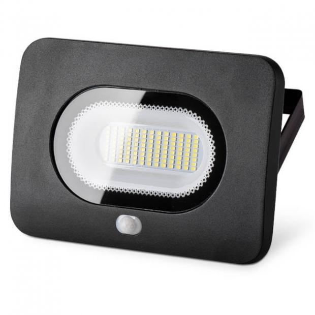 Светодиодный прожектор 4250Lm LFL-50/05s, с датчиком движения, 5500K, 50W SMD, IP 65, цвет чёрный, слим
