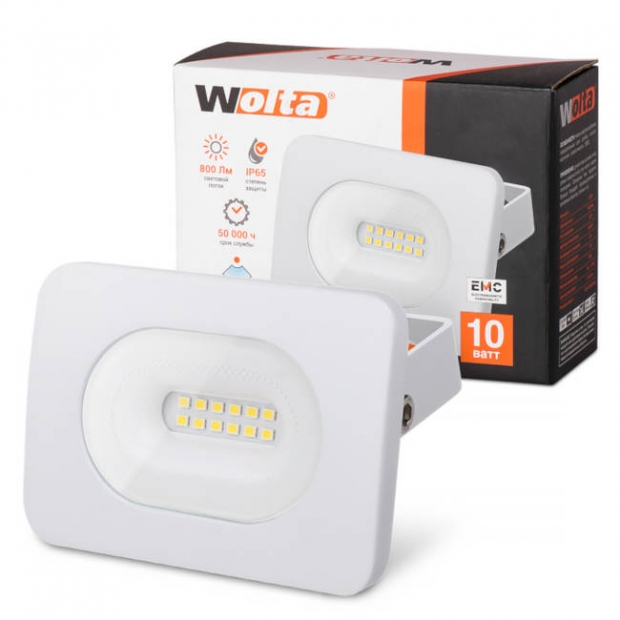 Светодиодный прожектор 800Lm WFLW-10W/05, 5500K, 10W SMD, IP65, цвет белый, слим