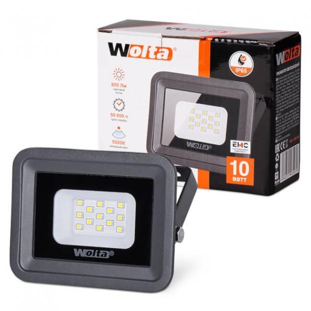 Светодиодный прожектор 850Lm WFL-10W/06, 5500K, 10W SMD, IP 65, цвет серый, слим