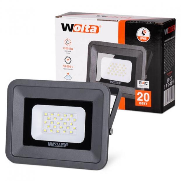 Светодиодный прожектор 1700Lm WFL-20W/06, 5500K, 20W SMD, IP 65, цвет серый, слим