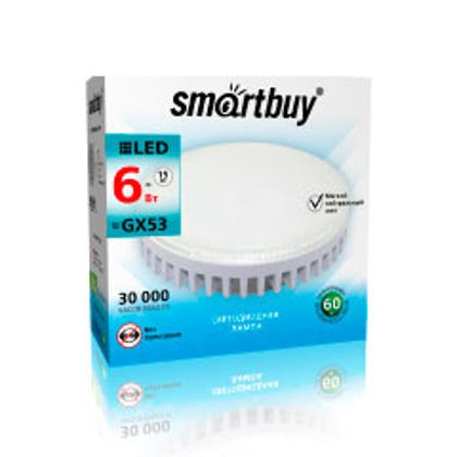Светодиодный (LED) Tablet GX53 Smartbuy-8W/4000K/Мат стекло